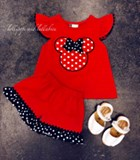 Banana Split Mouse Ears Applique Shortset