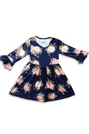 Dark Blue Floral Bell Sleeve Dress