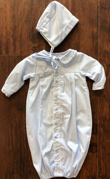 Baby Blue Airplane Embroidered Day Gown