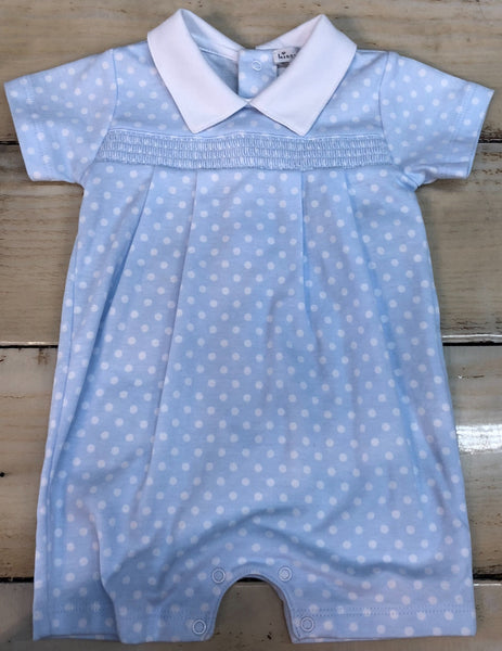 Kissy Kissy Blue Polka Dots Print Short Playsuit with Collar and Smocking