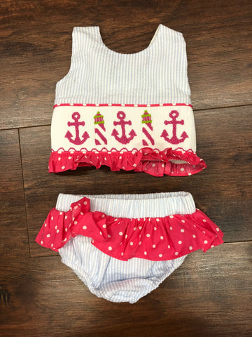Banana Split Anchors Away Smocked Two Piece Swimsuit