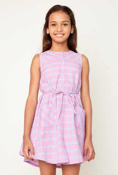 Tween Bubblegum Pink Plaid Tank Dress