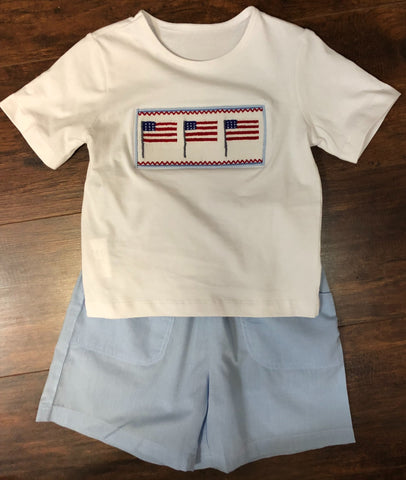Boys Smocked Flag 2-Piece Short Set