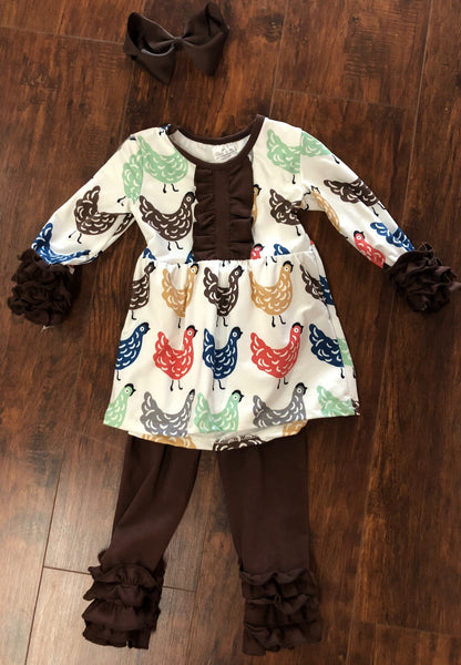 Chicken Shirt and Ruffle Pant Set