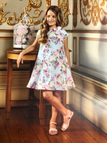 Dr. Kid Blue and Pink Floral Sleeveless Dress with Crinoline