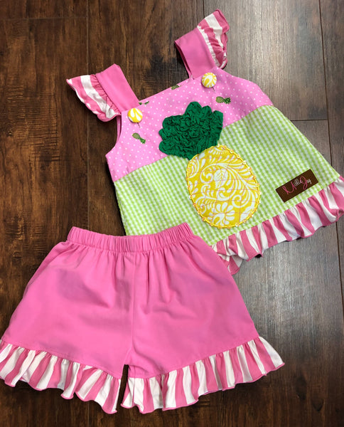 Millie Jay Pineapple Applique Shorts Set
