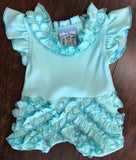 Three Sisters Baby Mint Rouched Romper