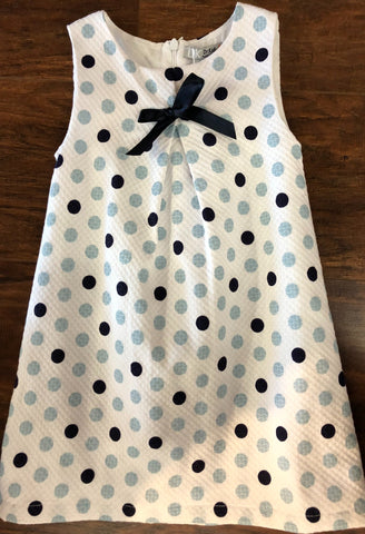 Dr. Kid White A-Line Pique Dress with Navy and Light Blue Dots