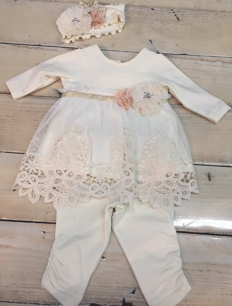 Girls Cream Lace Dress with Leggings