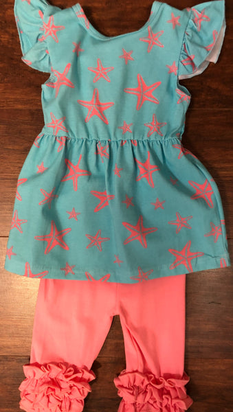 Girls Starfish Print Turquoise Top with Coral Capri Pants