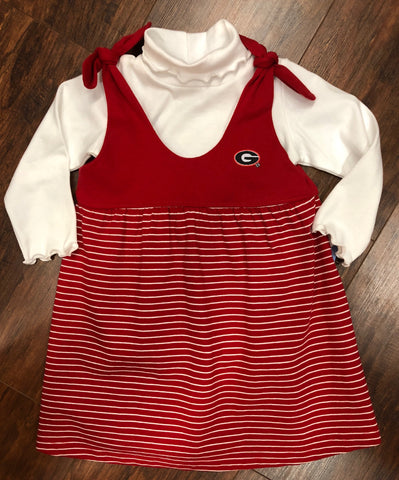 Georgia Red Stripe Tie Shoulder Dress