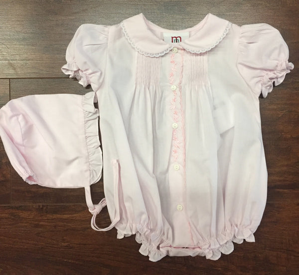 Pink Pintucked Button Front Bubble with Lace Edged Peter Pan Collar