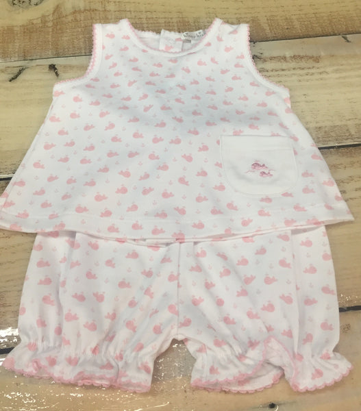Kissy Kissy Wee Whales Print Pink Sunsuit