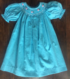 Turquoise Corduroy Smocked Bishop