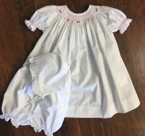 White Smocked Bishop with Bonnet and Bloomers