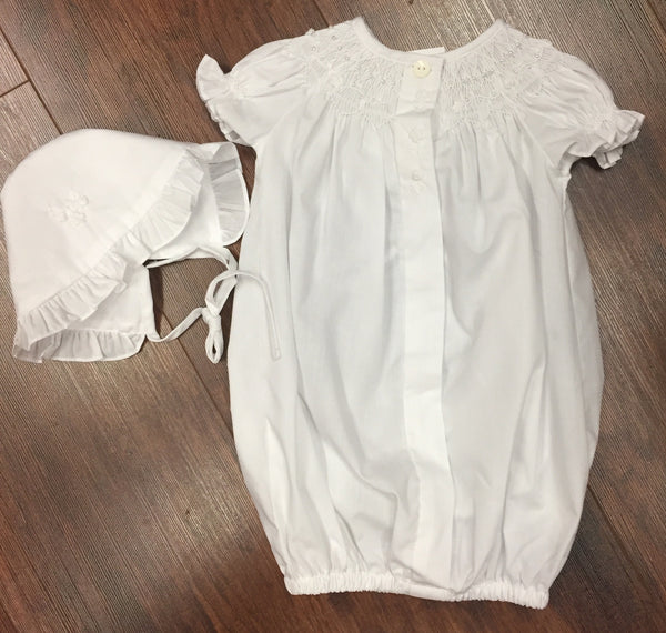 White Girls Smocked Morning Gown Button Up