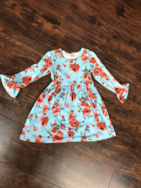 Light Blue Floral Longsleeve Dress