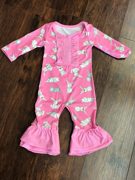 Girls' Pink Bunny Long Sleeve Romper