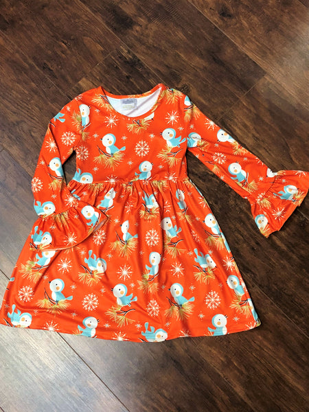 Girls' Orange Bird Dress with Snowflakes