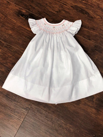Bailey Boys White with Pink Roses Smocked Bishop and Bloomers