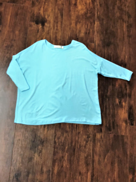 Tween Aqua 3/4 Sleeve Piko Top