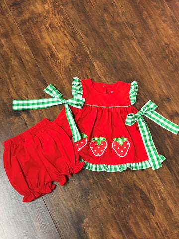 Three Sisters Strawberry Applique Bloomer Set