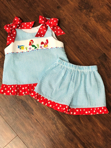 Three Sisters Mermaid Smocked A-Line Short Set