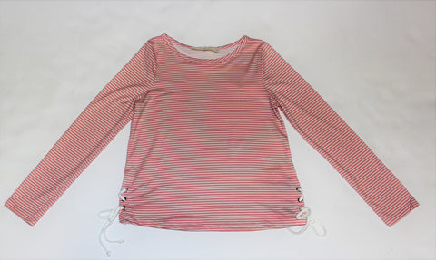 Tween Light Pink and White Striped Longsleeve with Tie Sides