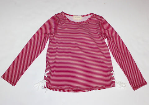 Tween Hot Pink and White Striped Longsleeve with Tie Sides