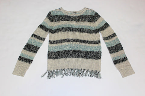 Tween Blue and Charcoal Striped Knit Sweater
