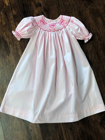 Mom & Me Pink Ballet Shoes Smocked Dress