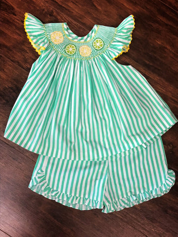 Mom & Me Mint Stripe Smocked Lemon and Lime Shorts Set