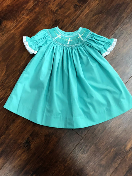 Banana Split Faith Mint Smocked Bishop