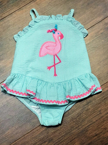 Bailey Boys Flamingo One Piece Swimsuit with Ruffle