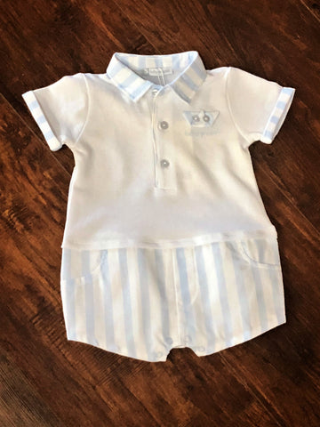 Tutto Piccolo Blue and White Striped Babygrow
