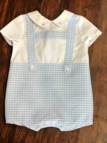 Tutto Piccolo Blue and White Checked Babygrow