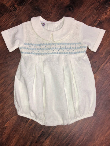 Bailey Boys White Smocked Geometric BoysBubble