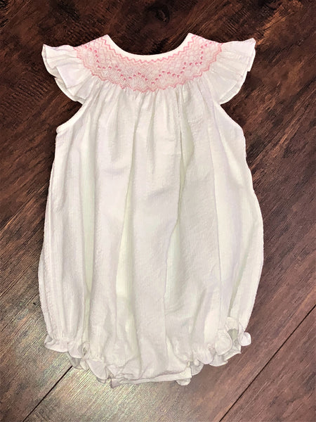 Bailey Boys White Smocked Geometric Bishop Short Romper