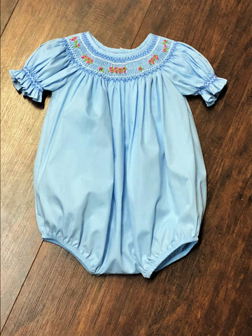 Mom & Me Sky Blue Floral Smocked Bubble