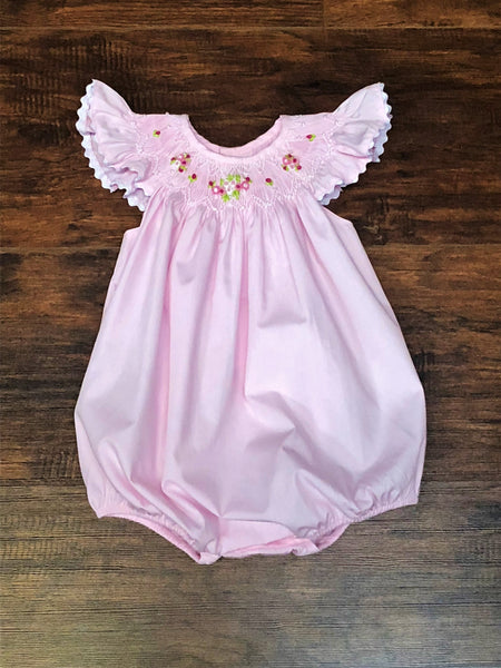 Mom & Me Light Pink Beaded Smocked Bubble
