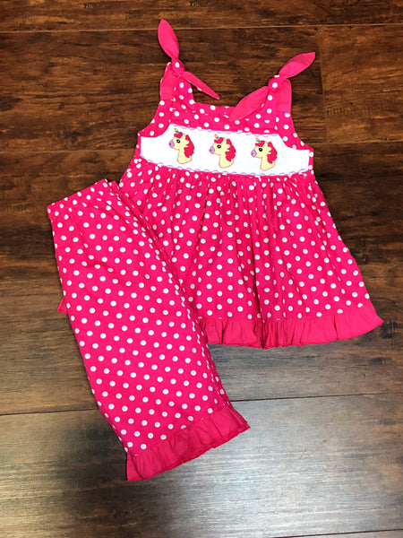 Mom & Me Smocked Unicorn Polka Dot Capri Set