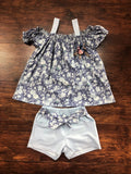 Doe-A-Dear Blue Off The Shoulder Floral Shirt with Tie Shorts