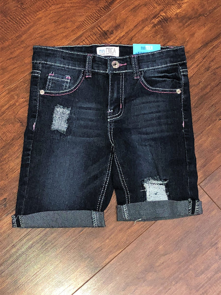 Navy Ripped Bermuda Denim Shorts