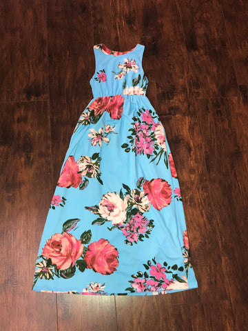 Sky Blue Sleeveless Floral Print Maxi with pocket