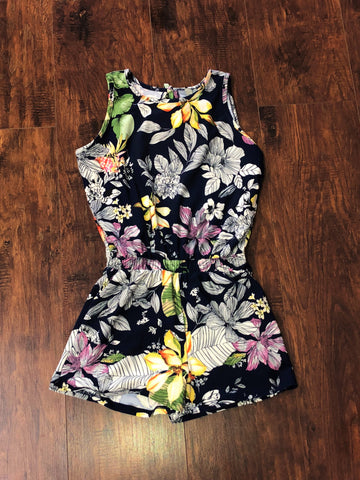 Tween Navy Tropical Floral Romper
