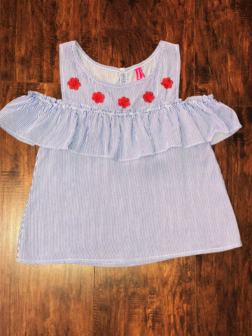 Tween Blue and White Striped Embroidered Off the Shoulder Top