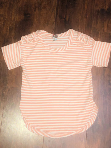 Tween Blush Striped Shortsleeve Shirt with Criss Cross Sleeve Detail