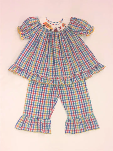 Mom & Me Plaid Smocked School Girls' Pant Set