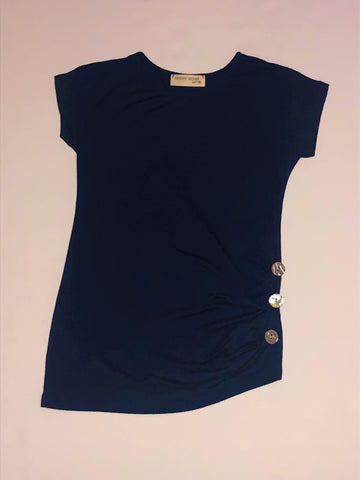 Shortsleeve Navy Top with Gathering Button Detail
