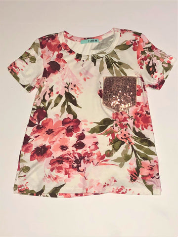 Ivory Floral Sequin Pocket Top